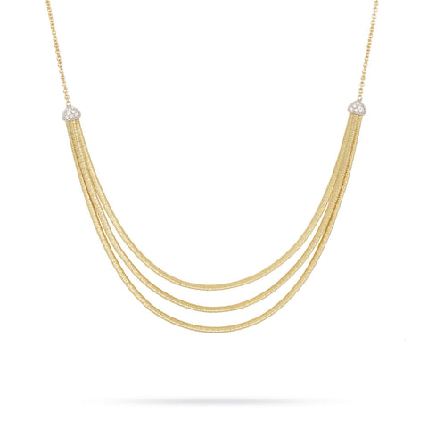 Cairo 18k Yellow Gold and Diamond Three Strand Collar Necklace