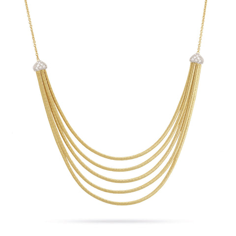Cairo Gold & Pave Five Strand Collar Necklace