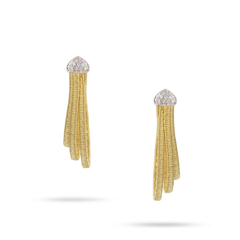 Cairo Gold & Diamond Three Strand Woven Hoop Earrings