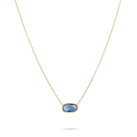 Delicati London Blue Topaz Rectangle Pendant