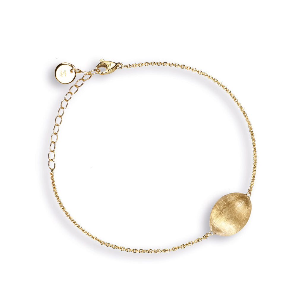 18K Gold Pebble Bead Bracelet