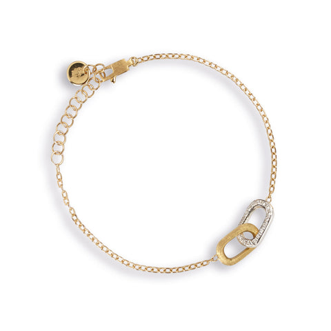 Marco Bicego® Delicati Collection 18K Yellow and White Gold Diamond Rectangle Link Bracelet