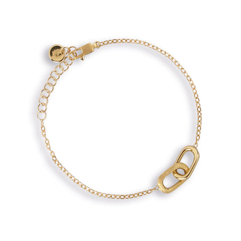 Delicati 18K Yellow Gold Rectangle Link Bracelet