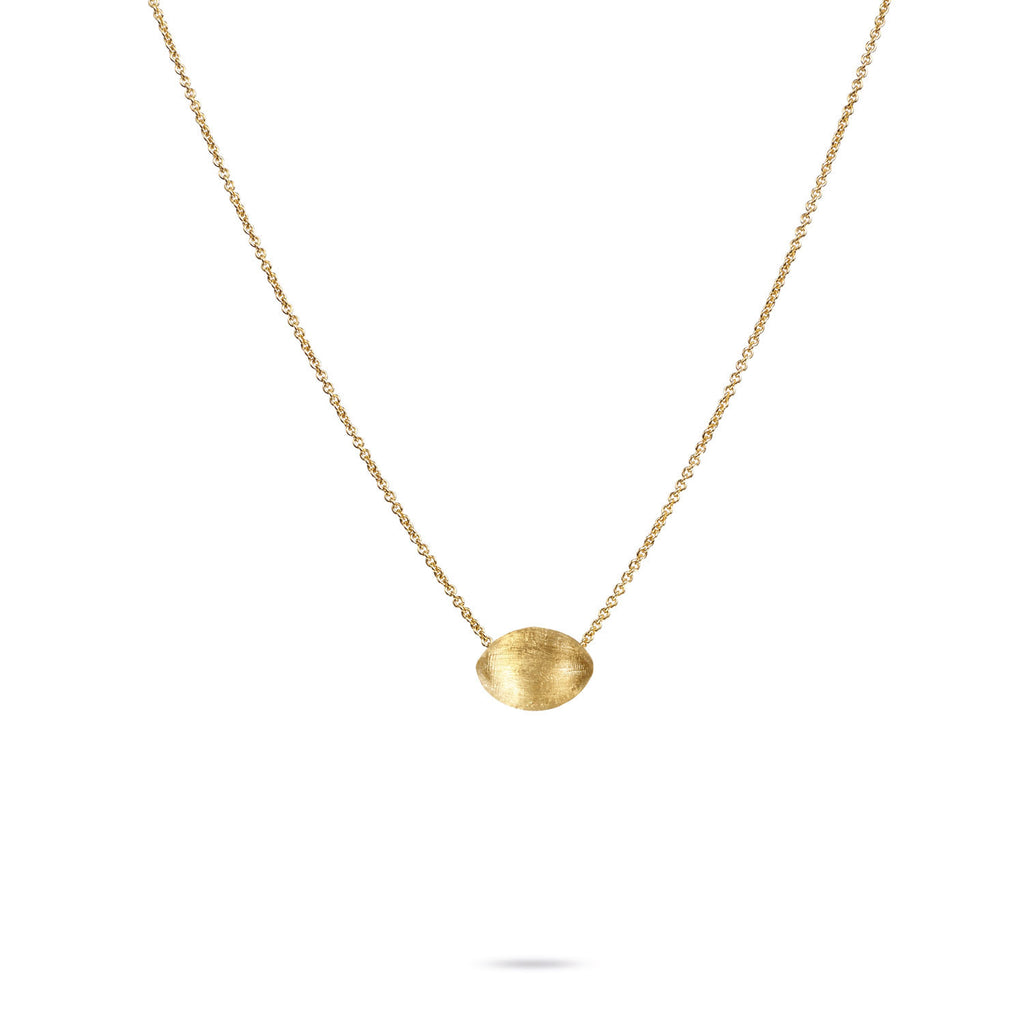 18K Gold Pebble Bead Pendant