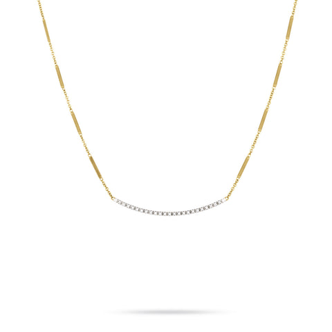 Goa Pave Diamond Bar Necklace In Yellow Gold