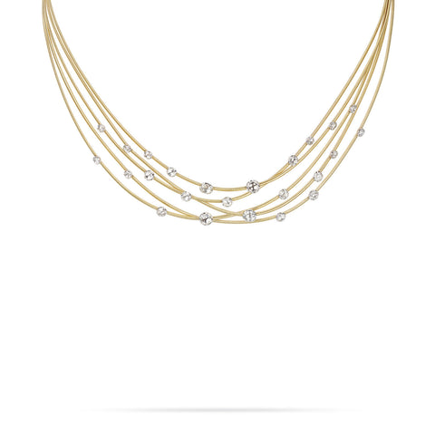 Goa Five Strand Rose Cut Diamond Necklace In Yellow Gold