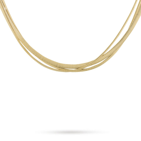 Masai Three Strand Crossover Necklace In Yellow Gold