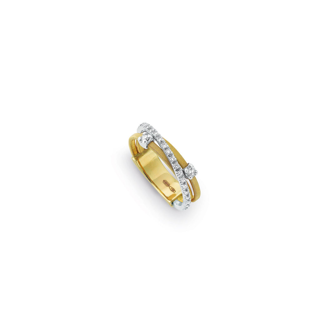 18K Gold & Diamond Three Row Ring