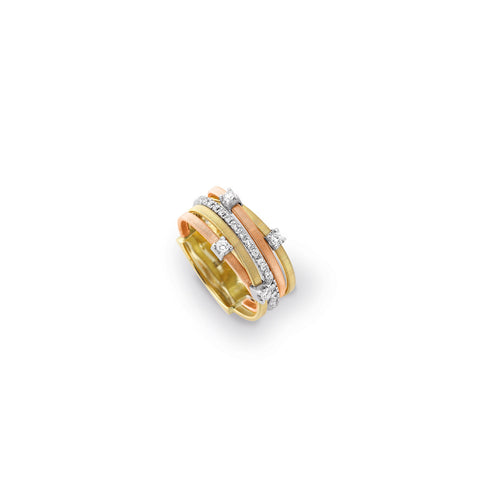 Goa Five Strand Diamond & Pave Ring In Yellow, White, & Rose Gold
