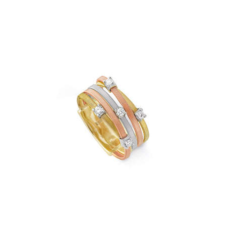 Goa Five Strand Diamond Ring In Yellow, White, & Rose Gold