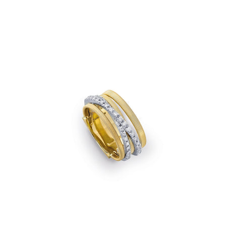 Goa Five Strand Crossover Pave Diamond Ring In Yellow Gold
