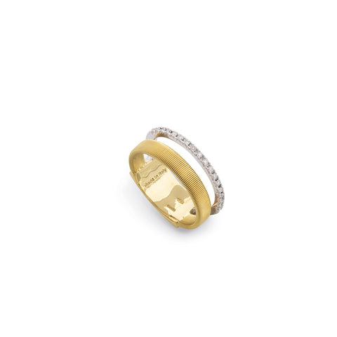 Marco Bicego® Masai Collection 18K Yellow and White Gold Two Row Ring with Diamonds