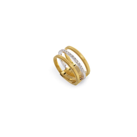 Masai Three Row Pave Diamond Ring In Yellow Gold
