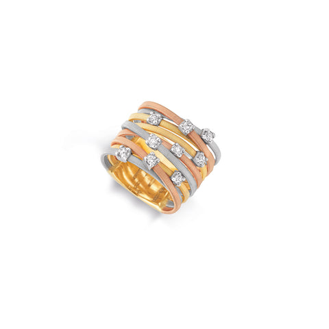 Goa Nine Strand Diamond Ring In Yellow, White, & Rose Gold
