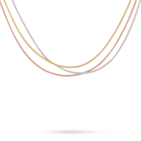 Goa Three Strand Necklace In Yellow, White, & Rose Gold