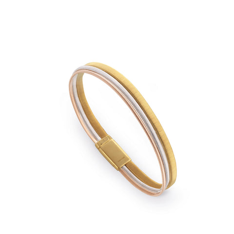 Masai Three Row Wide Bracelet In Yellow, White, & Rose Gold