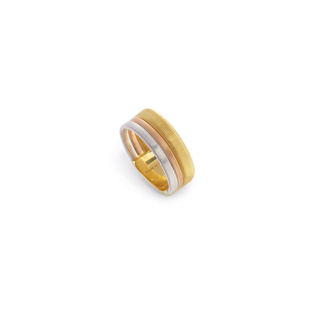 Masai Three Row Ring In Yellow, White, & Rose Gold