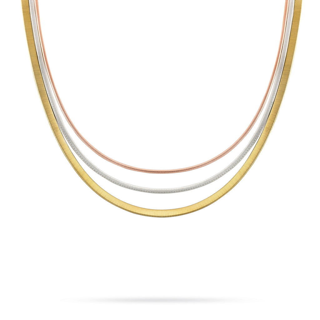 Masai Three Strand Wide Necklace In Yellow, White, & Rose Gold