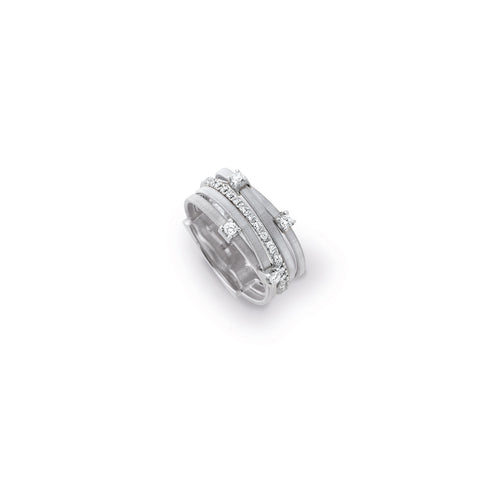Goa Five Strand Diamond & Pave Ring In White Gold