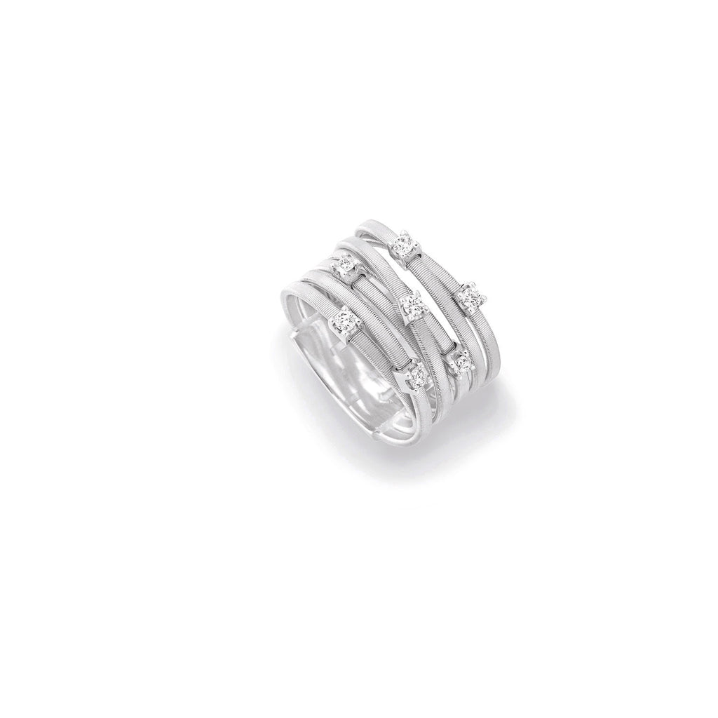 Goa Seven Strand Diamond Ring In White Gold