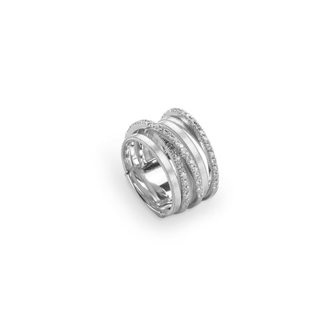 Goa Seven Strand Crossover Pave Diamond Ring In White Gold