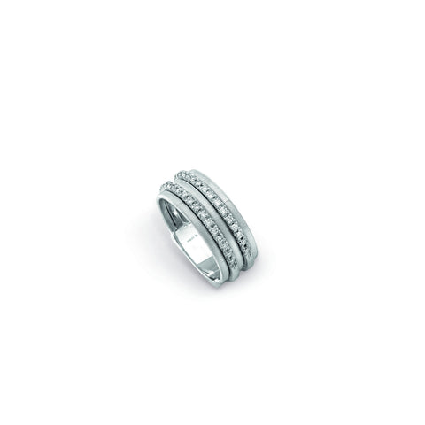 Goa Five Row Pave Diamond Ring In White Gold