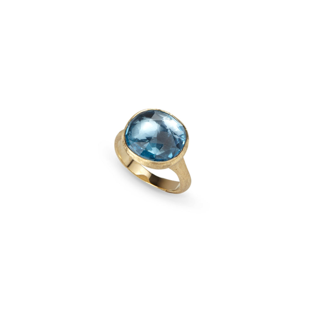 18K Gold Blue Topaz Cocktail Ring