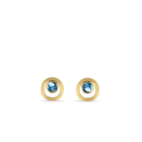 Jaipur 18K Yellow Gold Blue Topaz Gold Link Stud Earrings