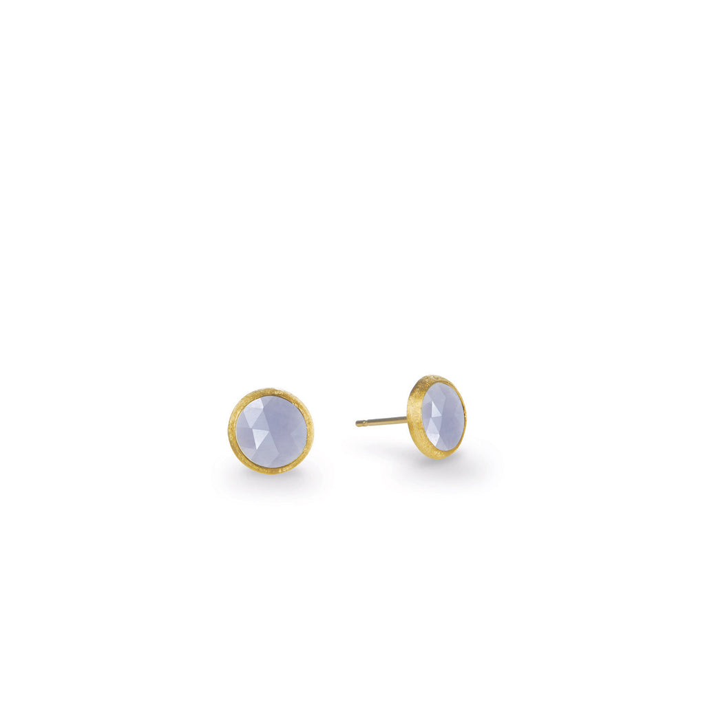 18K Gold Chalcedony Stud Earrings