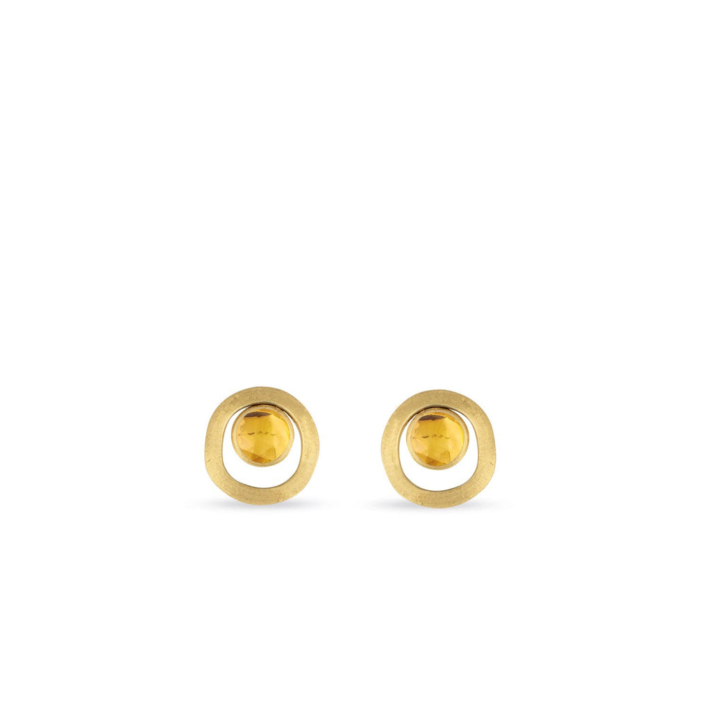 18K Gold Citrine Stud Earrings