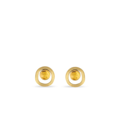 Jaipur 18K Yellow Gold Citrine Gold Link Stud Earrings