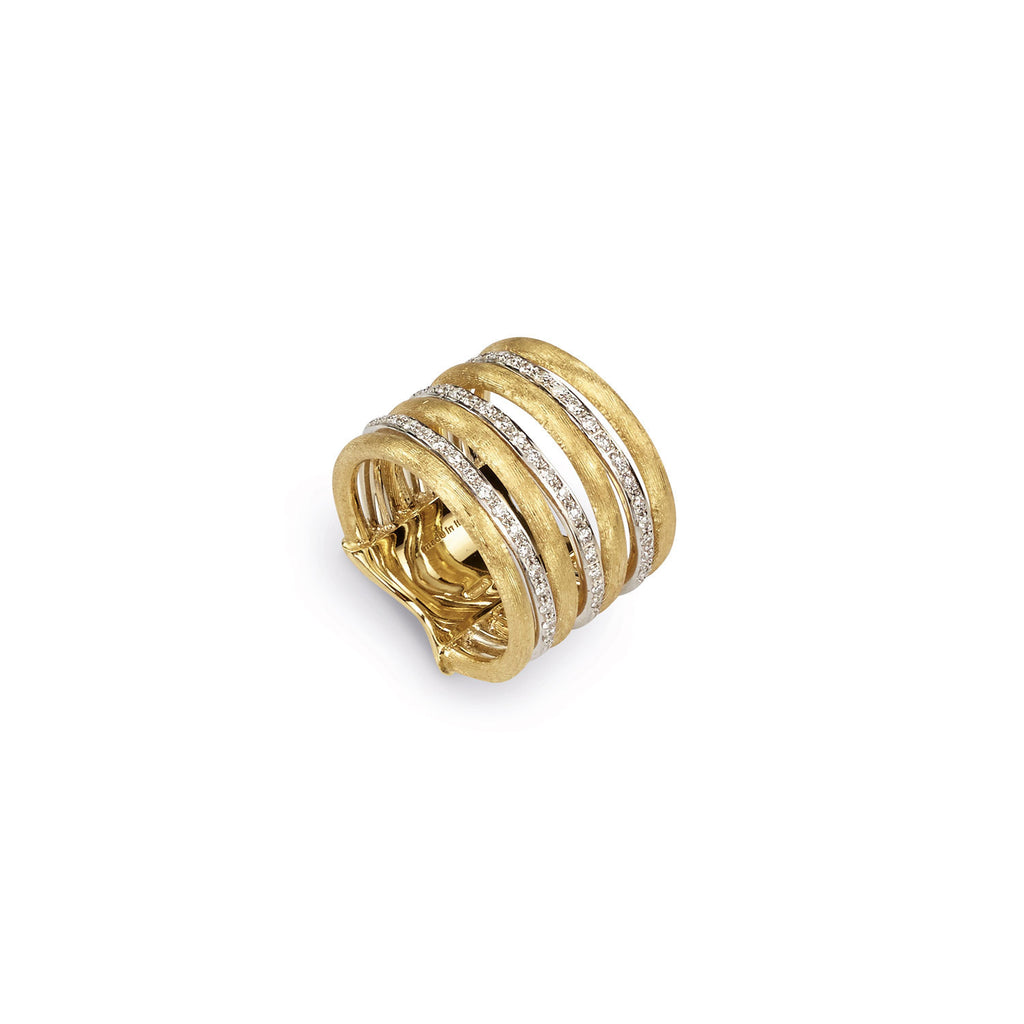 18K Gold & Diamond Seven Row Ring