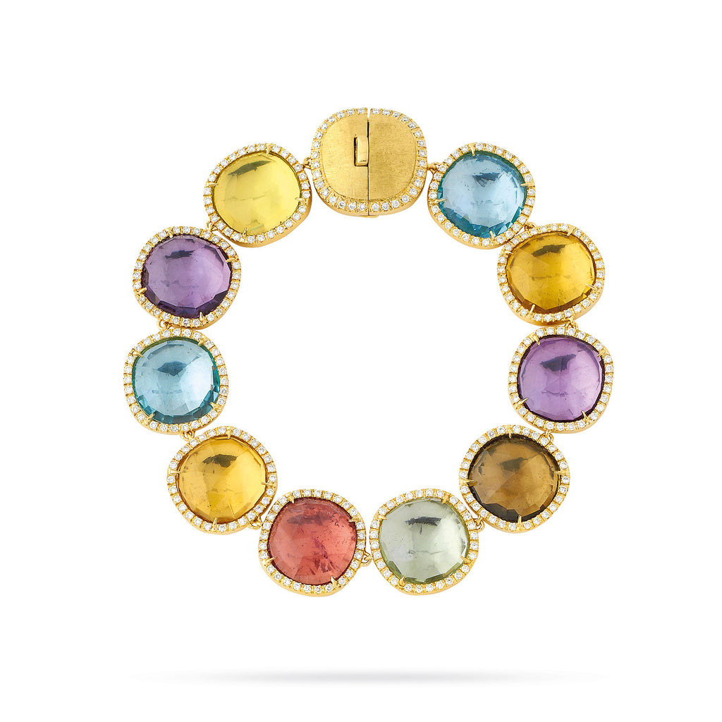 18K Gold Multicolored Stone & Diamond Bracelet