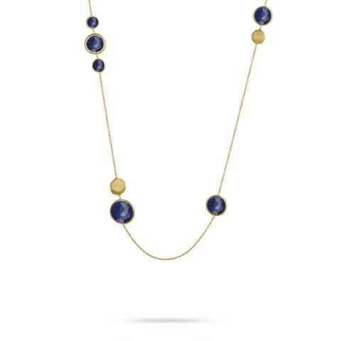 Jaipur Mixed Bead Gold & Lapis Stone Long Necklace