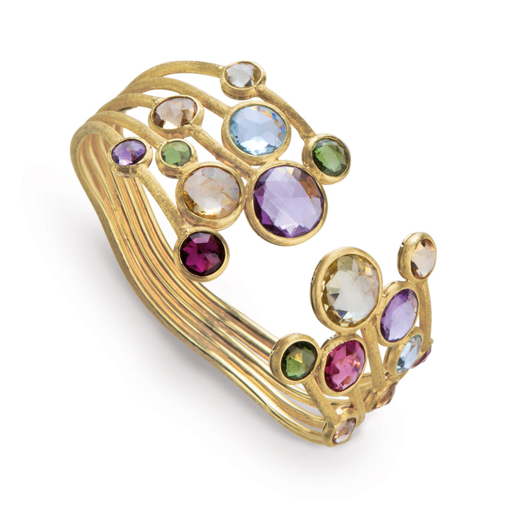 18K Gold Multicolored Stone Bangle