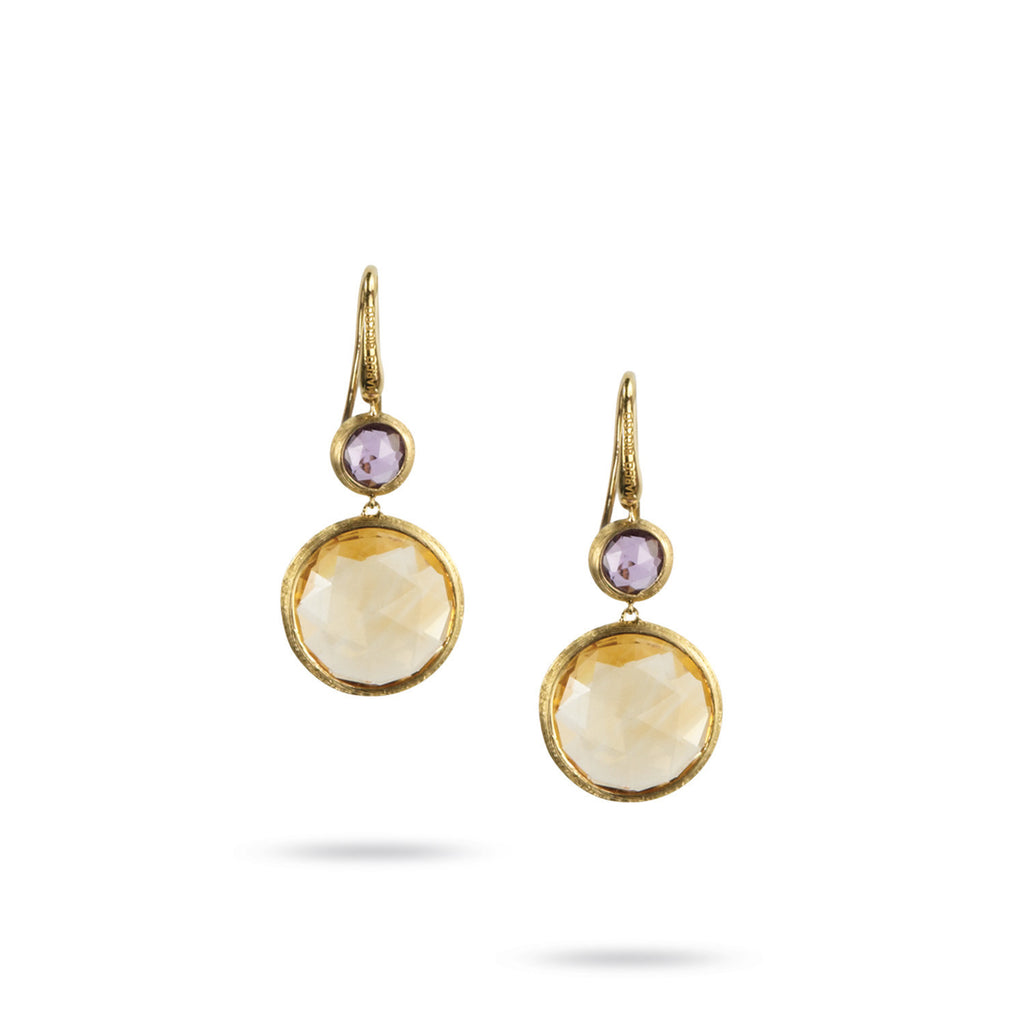 18K Yellow Gold Amethyst & Citrine Double Drop French Wire Earrings ...