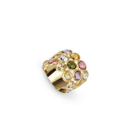 Jaipur Three Row Mixed Gemstones Ring