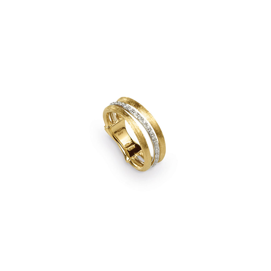 Jaipur Link Gold & Diamond Three Row Ring