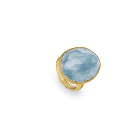 Lunaria Gold & Aquamarine Cocktail Ring