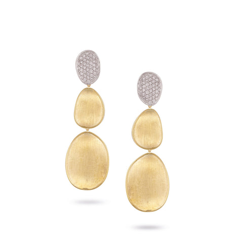 Lunaria Gold & Diamond Pave Large Triple Drop Earrings