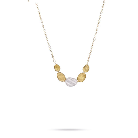 Marco Bicego® Lunaria Collection 18K Yellow Gold and Diamond Graduated Necklace