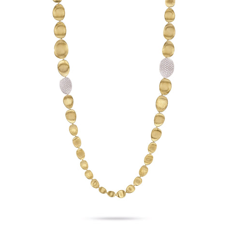 Marco Bicego® Lunaria Collection 18K Yellow Gold and Diamond Double Wave Necklace