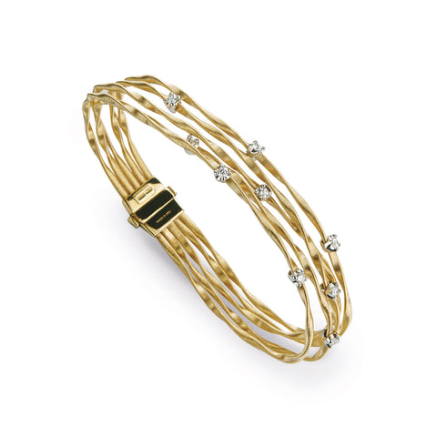 Marrakech Mini Gold & Diamond Five Strand Bangle