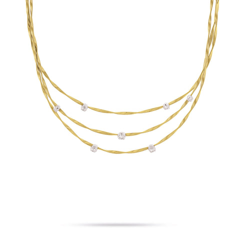Marrakech Couture Gold & Diamond Three Strand Necklace