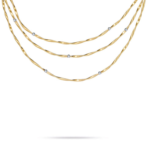 Marrakech Mini Gold & Diamond Three Strand Necklace