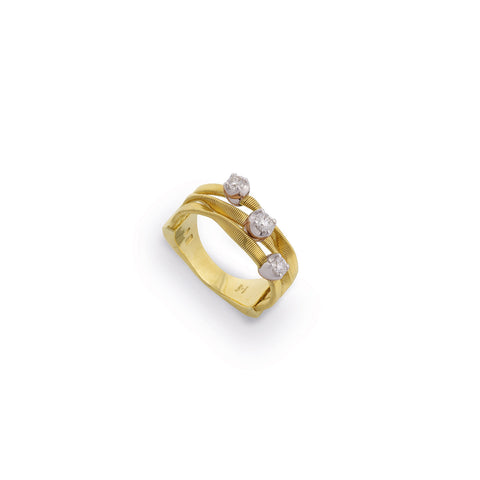Marrakech Couture Gold & Diamond Three Strand Ring