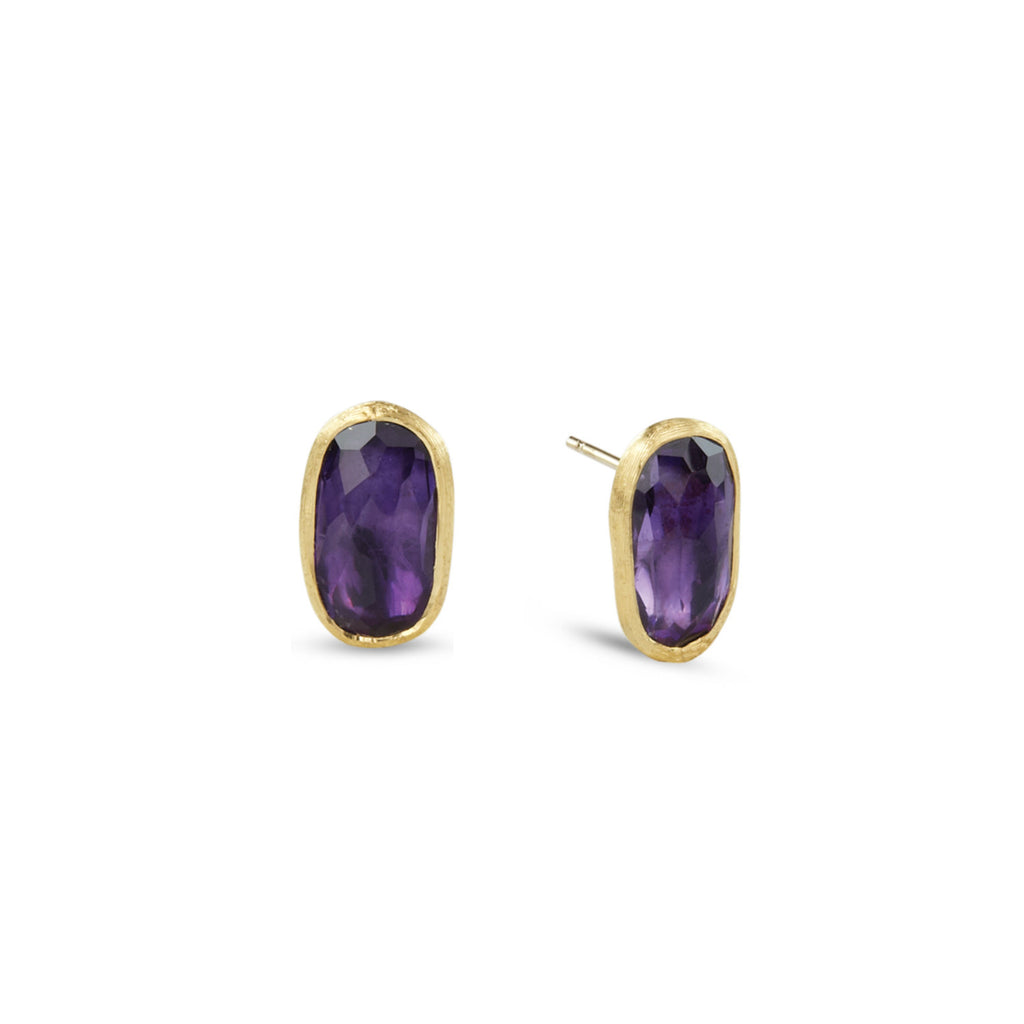 18K Gold Amethyst Stud Earrings