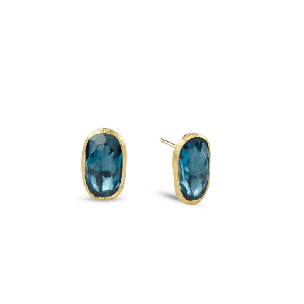 18K Gold London Blue Topaz Stud Earrings