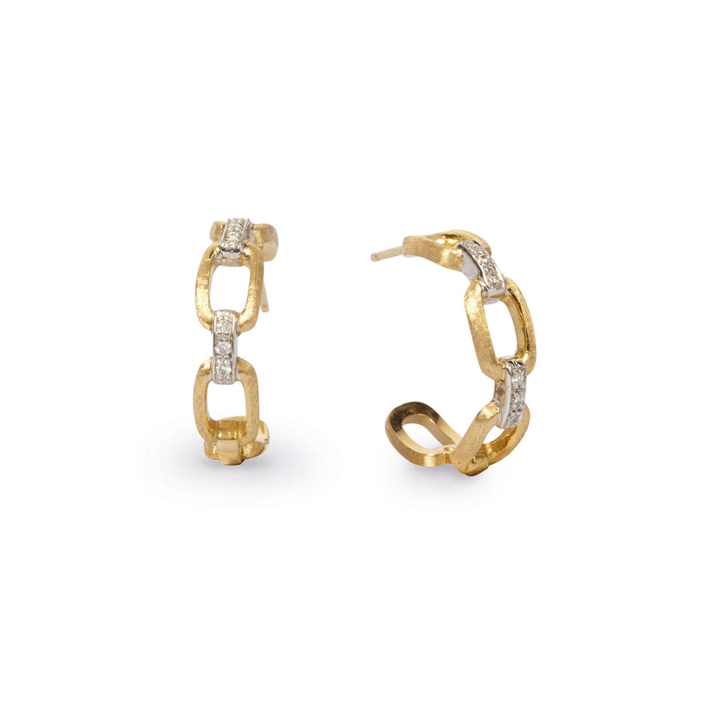 18K Gold & Diamond Hoop Earrings