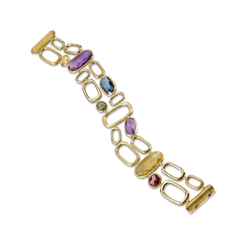Murano Mixed Stone Two Row Link Bracelet